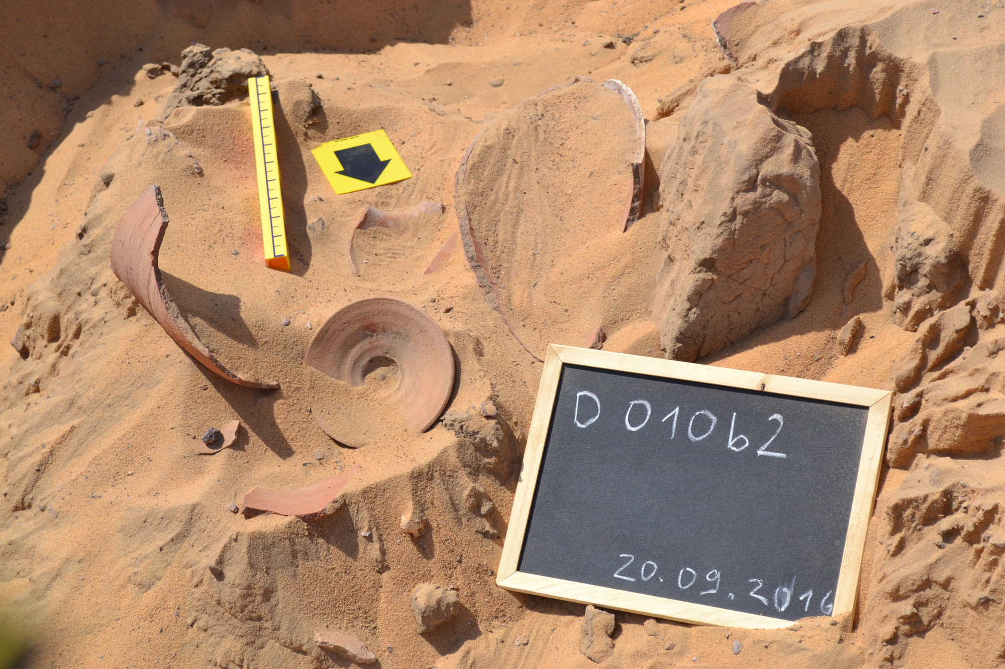 Pottery cache in situ at the Qubbet el-Hawa