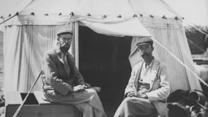 Grenfell and Hunt sit outside their tent during a Graeco-Roman Branch expedition to the Faiyum
