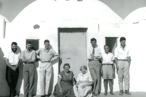 The Buhen expedition team outside the expedition house on Christmas day 1960