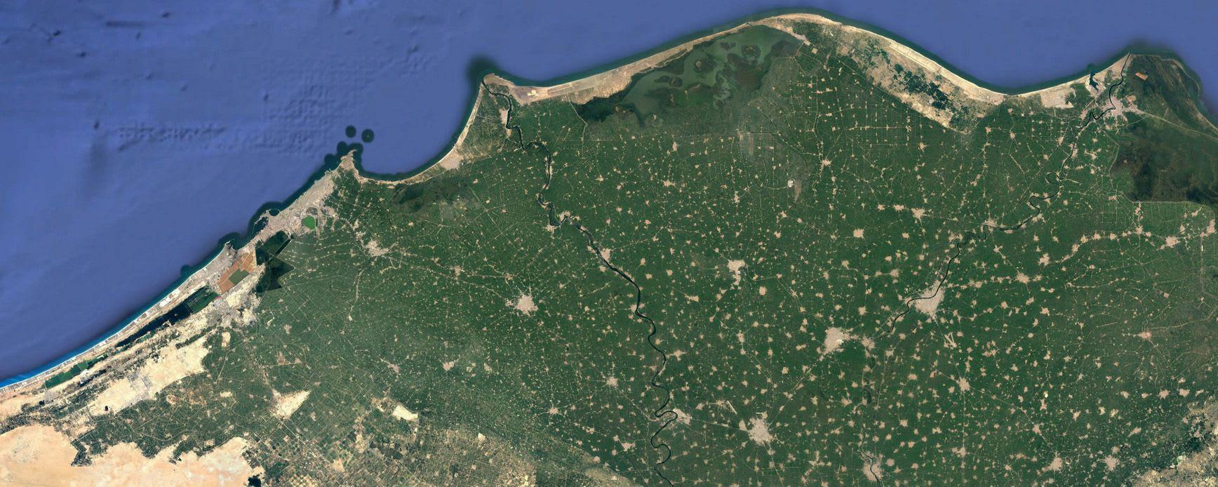 Satellite image of the northern Delta                      coastline